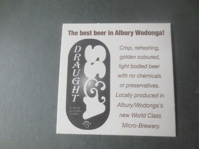 1 only  S.S.& A Draught ,Albury,N.S.W. Issue,  beer  COASTER