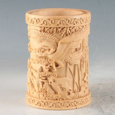 Chinese Bamboo Hand Carved Eagle Brush Pot ZJ301