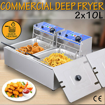 2X10L Electric Commercial Deep Fryer Twin Frying Basket Stainless Steel Chip Fry
