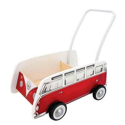 Hard Wooden Design RED CLASSICAL BUS WALKER No Skid Wheels Adjustable Hand Trail