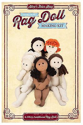 Sewing a Rag Doll Body Kit - Brown calico/Black hair - 54cm when made