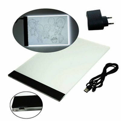 A4 LED Licht Box Zeichnung Pad Copy Board Pad Tattoo Sketch Kunst Foto USB Kabel