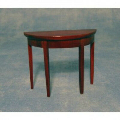 Dolls House Furniture: Wooden Curved Side Table in mahogany finish : 12th scale