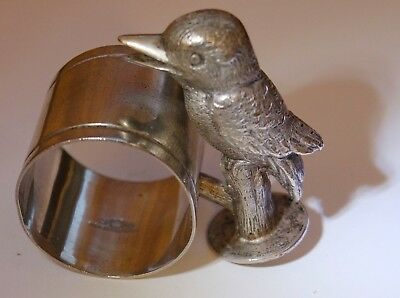 Antique Rare Australian Silver Plated Napkin Ring Adorned with Kookabura 1900