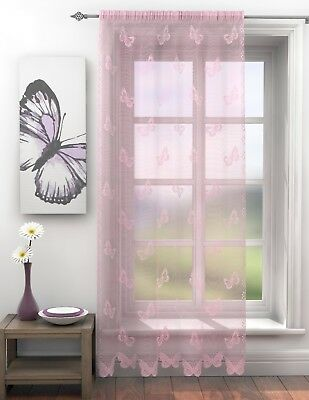 Trail Butterfly PINK Voile Curtain Panel Slot Top / Rod Pocket