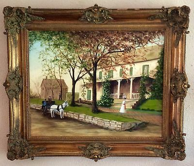 Antique Vintage Oil Painting French Victorian Estate Scene O/C Art Framed LARGE