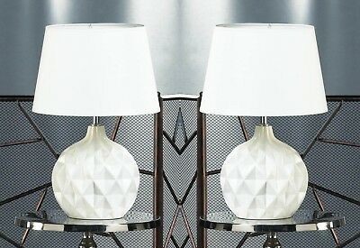 Set of 2 White Geometric Round Ceramic Base Table Lamps w/ Matching Fabric Shade