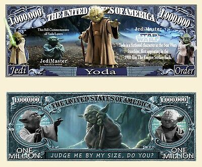 Star Wars Jedi Yoda Million Dollar Bill Funny Money $ Novelty Note + FREE SLEEVE