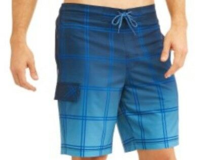 NEW Men's George Plaid Eboard Above the Knee Lined Swim Shorts Blue Sizes S-3XL