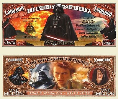 Star Wars Darth Vader Million Dollar Bill Funny Money Novelty Note + FREE SLEEVE