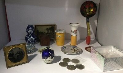 Job Lot Of Antique Ceramics, Coins, Misc, Woodenware, Framed, Lacquer Etc..