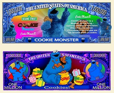 NEW! Cookie Monster Million Dollar Bill Collectible Funny Money Novelty Note