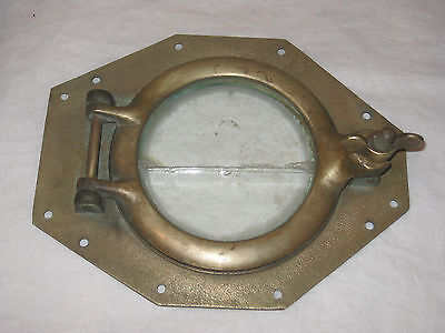 Vintage /antique Bronze/brass 8 Sided Working Porthole Cracked Glass