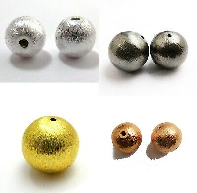 Sterling Silver Plated 18K Gold Plated Solid Copper Brushed Bead 6Mm To 28Mm