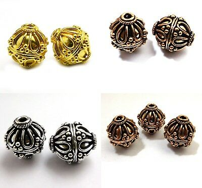 Solid Copper Bali Bead Antique Silver Copper And Gold Plated B3