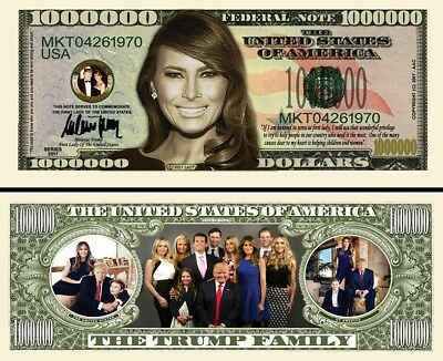 Melania Trump and Family Million Dollar Bill Collectible Fun Money Novelty Note