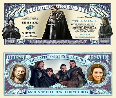 Game of Thrones House Stark Million Dollar Bill Funny Money Novelty FREE SLEEVE