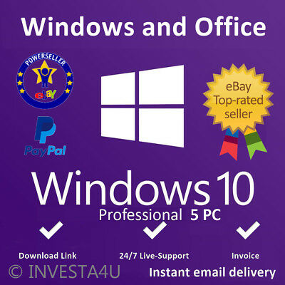 Windows 10 Professional Key 5 PC - W/scrap, Genuine, Lifetime Key 100% ORIGINAL