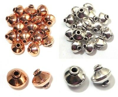 16 Pcs 10X10Mm  Antique Sterling Silver Plated Solid Copper Handmae Bead B 780