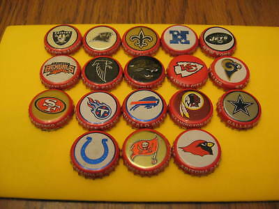 Budweiser NFL beer bottle caps -  Lot of 18 different caps! - From 1999 - Canada