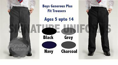 Boys School Stocky Trousers Generous Plus Fit Sturdy Chunky Elasticated Back