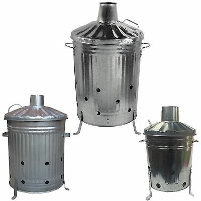 Small Medium Large 15L 60L 90L Garden Fire Bin Incinerator Galvanised Burner BBQ