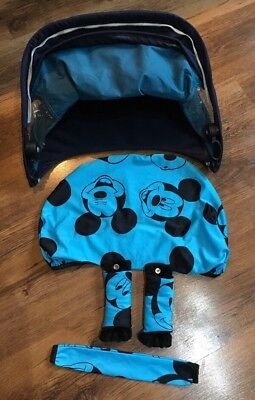 Quinny Buzz replacement hood / sun canopy with Mickey Mouse cover- Blue