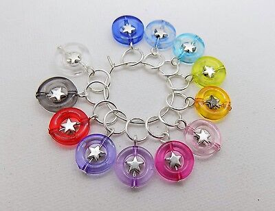 10 Colourful Stars KNITTING Stitch Markers for 5.5mm Needles