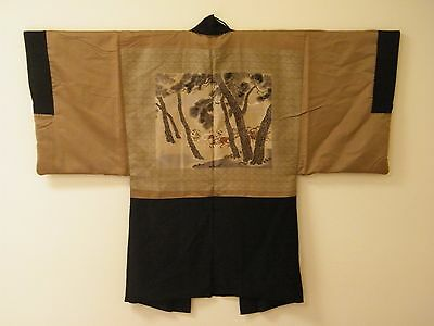 Kimono Silk Japan Vintage Black & Gold Samurai Warriors Estate Find