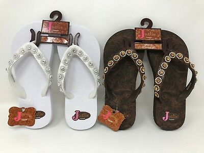 "b281f36770b9 WOMENS JUSTIN ""Stace"" Thong Flip-Flops (Two Colors) C17 -  10.49"