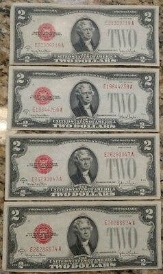 4 XF to AU 1928G red seal $2 US Notes. No holes, tears or ink.
