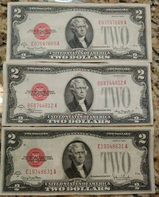 (3) XF & VF red seal $2 bills. US Notes. No holes,tears,ink. 1928C & 2x 1928G