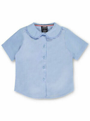 French Toast Little Girls' S/S Peter Pan Lace Trim Blouse (Sizes 4 - 6X)