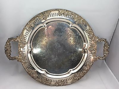 "Round Silverplate Platter by Forbes Silver Company Meriden 14"" round w/ handles"