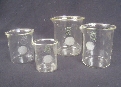 4 Vintage measuring beakers early 20th century Pyrex hand blown MINT set