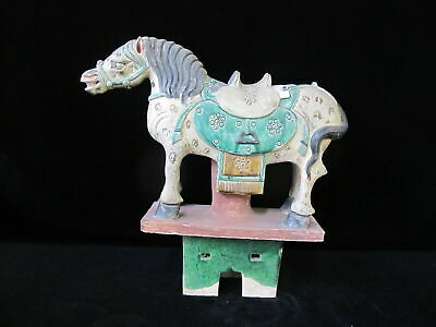 Large HORSE on Stand Chinese Green Sancai Glaze Terra Cotta Pottery FIGURINE