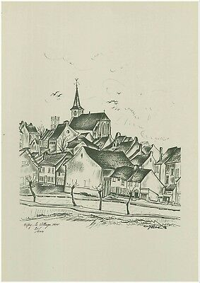 Ciply - Oscar Glace - Lithographie Numerotee - Le Village 1644