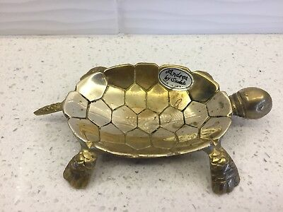 Vintage Cast BRASS SEA TURTLE Trinket Jewelry Coin Soap Dish Andrea by Sadak