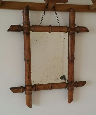 Vintage Small French Mock Bamboo Wood Mirror Shabby Chic Decorative