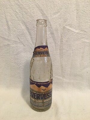 RARE 12oz PEPSI-COLA EVERVESS PAPER LABEL SODA BOTTLE WINSTON-SALEM, N.C.