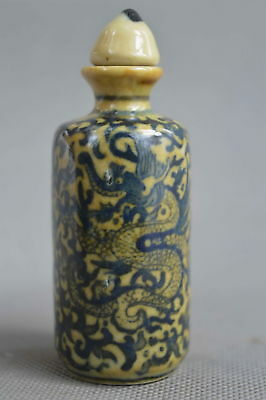 Collectable Handwork Decor Old Porcelain Paint Dragon Flower Lucky Snuff Bottle