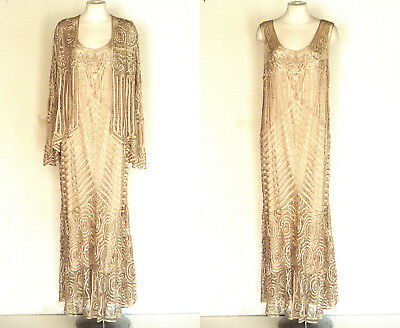 SOULMATES Jacket and Gown w Attached Slip Champagne Silk Beaded Crochet Dress XL