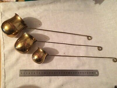 Set Of 3 Vintage Brass Copper Spirit Measuring Ladle Whisky Brandy Rum Graduated