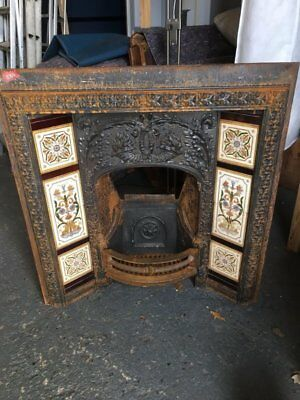 Vintage Fireplace With Original Decorated Tiled Surround