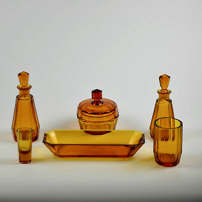 Antique Czech Art Deco Heavy Bright Amber Cut Crystal Dressing Table Perfume Set