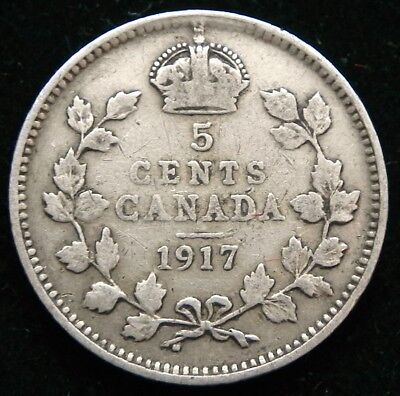 1917 Canadian Silver 5 cent