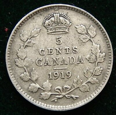 1919 Canadian Silver 5 cent