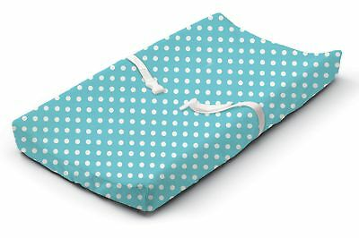 Baby Changing Table Pad Cover Contoured Diaper Infant Nappy Changing Blue Dots