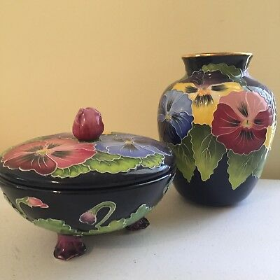 Hand Painted Pansy Flower Footed Candy Dish with Lid and Vase