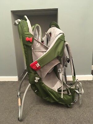 Osprey Poco AG Baby Backpack/Baby Carrier USED with RAINCOVER. LIME GREEN.